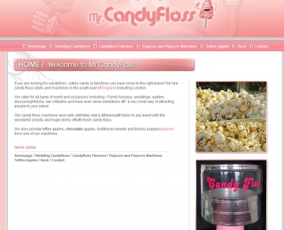 Screen shot of the old mr candy floss site